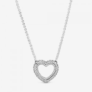 Pandora Pavé Snake Chain Pattern Open Heart Collier Necklace