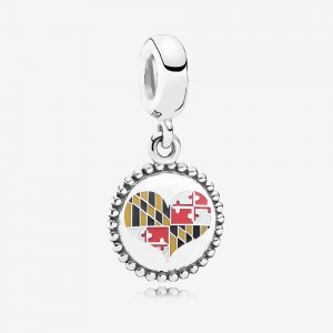 Pandora Maryland Flag Heart Dangle Charm, Mixed Enamel