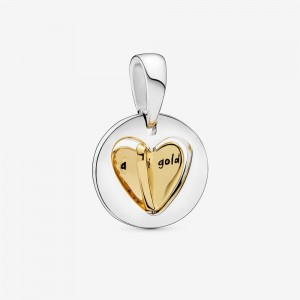 Pandora Mom's Golden Heart Dangle Charm Two Tone