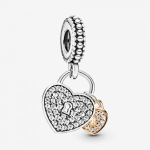 Pandora Pavé Heart Padlocks Dangle Charm Two Tone