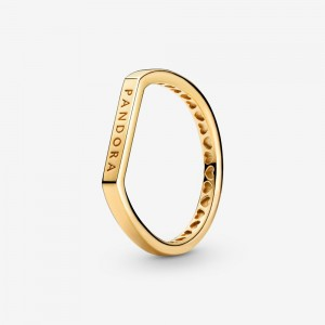 Pandora Logo Bar Stacking Ring Gold
