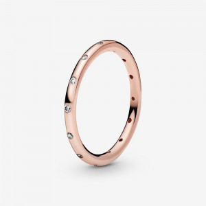 Pandora Simple Sparkling Band Ring Rose Gold