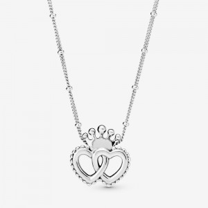 Pandora Crown & Interwined Hearts Pendant Necklace