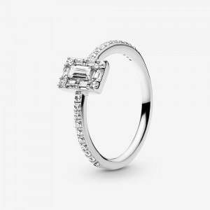 Pandora Sparkling Square Halo Ring - FINAL SALE Silver