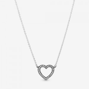 Pandora Sparkling Open Heart Necklace