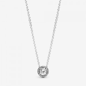 Pandora Round Sparkle Halo Necklace