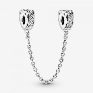 Pandora Clear Pavé Hearts Safety Chain Charm