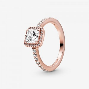 Pandora Square Sparkle Halo Ring Rose Gold