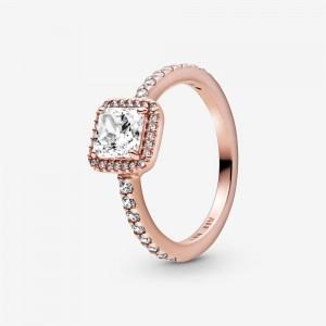Pandora Square Sparkle Halo Ring Rose Gold