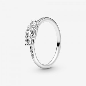 Pandora Clear Three-Stone Ring Silver