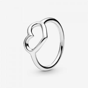 Pandora Polished Open Heart Ring