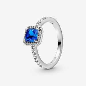 Pandora Blue Square Sparkle Halo Ring Blue