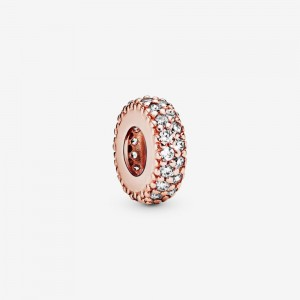 Pandora Clear Sparkle Spacer Charm Rose Gold