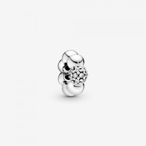Pandora Polished & Pavé Bead Spacer Charm Silver