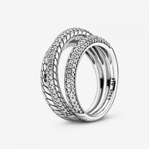 Pandora Triple Band Pavé Snake Chain Pattern Ring