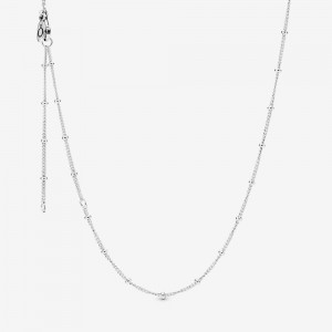 Pandora Beaded Chain Necklace Silver
