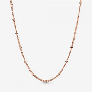 Pandora Beaded Chain Necklace Rose Gold