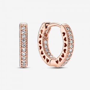 Pandora Pavé Heart Hoop Earrings Rose Gold