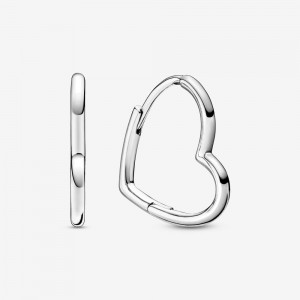 Pandora Asymmetrical Heart Hoop Earrings Silver