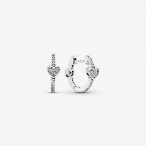 Pandora Pavé Heart Hoop Earrings