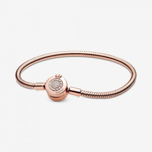 Pandora Pandora Moments Sparkling Crown O Snake Chain Bracelet Rose Gold