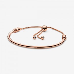 Pandora Flower Stem Slider Bracelet Rose Gold