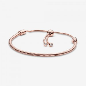 Pandora Pandora Moments Snake Chain Slider Bracelet Rose Gold