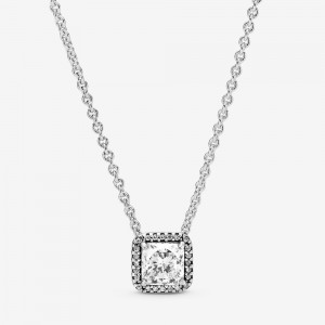 Pandora Square Sparkle Halo Necklace