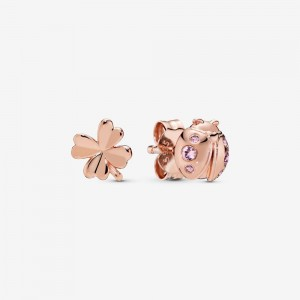 Pandora Clover and Ladybird Stud Earrings