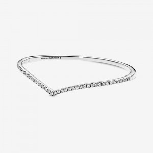 Pandora Sparkling Wishbone Bangle