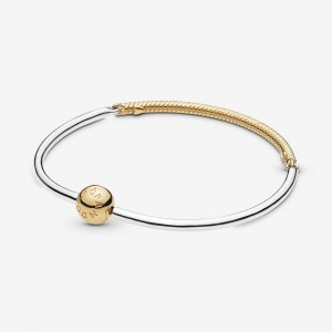 Pandora Moments Three-Link Pandora Shine™ Bangle Bracelet Two Tone