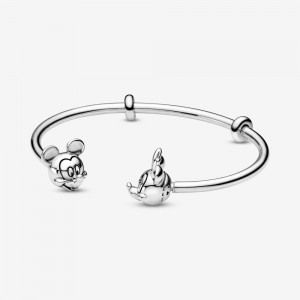 Pandora Disney Pandora Moments Mickey Mouse and Minnie Mouse Open Bangle