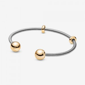 Pandora Pandora Moments Snake Chain Style Open Bangle Two Tone
