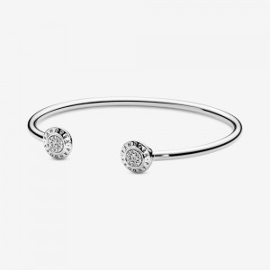 Pandora Pandora Logo Pavé Open Bangle Silver