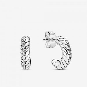 Pandora Pavé Snake Chain Pattern Hoop Earrings