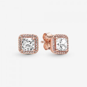 Pandora Square Sparkle Halo Stud Earrings Rose Gold