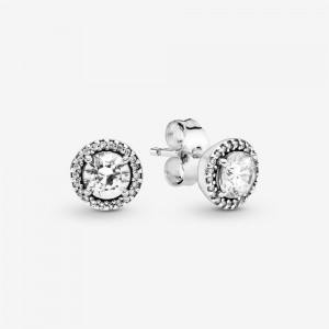 Pandora Round Sparkle Stud Earrings Silver