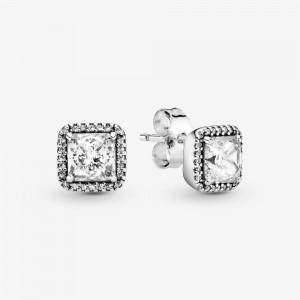Pandora Square Sparkle Halo Stud Earrings Silver