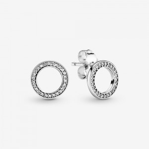 Pandora Sparkling Circle Stud Earrings Silver