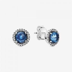 Pandora Blue Round Sparkle Stud Earrings Multi