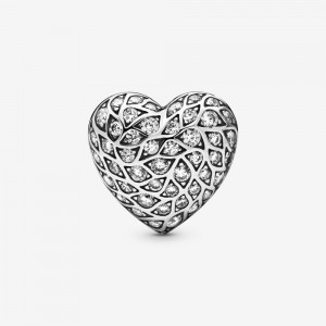 Pandora Sparkling Pattern Heart Single Stud Earring