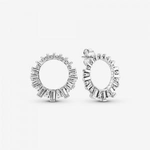 Pandora Sparkling Ice Cube Circle Stud Earrings