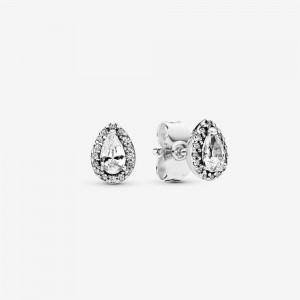 Pandora Sparkling Teardrop Halo Stud Earrings Silver