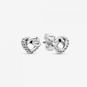 Pandora Knotted Heart Stud Earrings