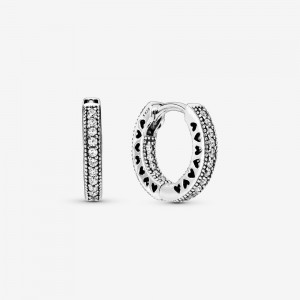 Pandora Pavé Heart Hoop Earrings Silver