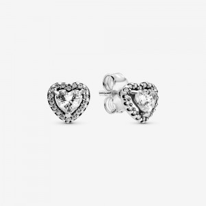Pandora Elevated Heart Stud Earrings Silver