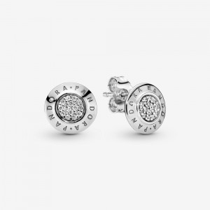 Pandora Sparkling Pandora Logo Stud Earrings Silver