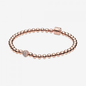 Pandora Beads & Pavé Bracelet Rose Gold