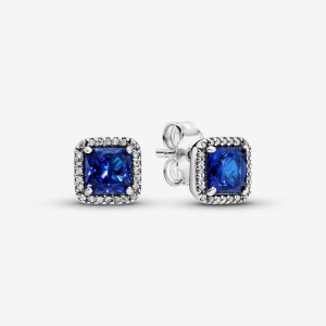 Pandora Blue Square Sparkle Halo Stud Earrings Blue