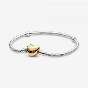 Pandora Pandora Moments Heart Clasp Snake Chain Bracelet Two Tone